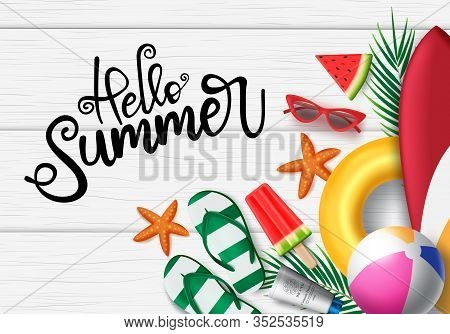 Hello Summer In Wooden Background Vector Banner. Hello Summer Greeting Typography In White Space For