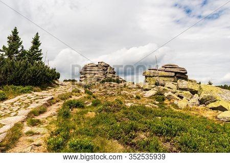 Divci Kameny Rocks With Stone Hiking Trail In Krkonose Mountains On Czech - Polish Border
