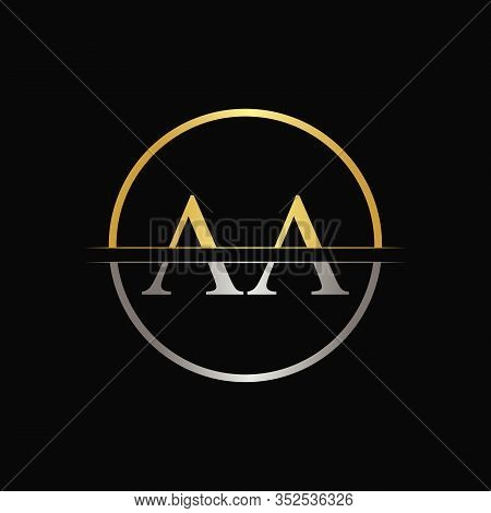 Initial Circle Aa Letter With Modern Typography Vector Template. Creative Abstract Letter Aa Logo De