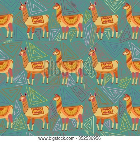 Seamless Pattern With Lamas And Abstract Geometric Shapes On Green Background. Color Ornament In The