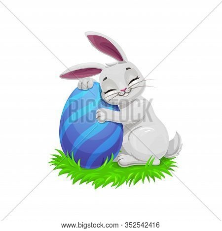 Easter Holiday Vector Bunny Or Rabbit On Easter Egg Hunt, Egghunting Party. Gray Cartoon Bunny On Gr
