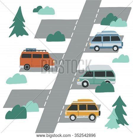 Campervan Parking Illustration. Hand Drawn Flat Vector Concept For Banner, Advertisment. Motorhome,