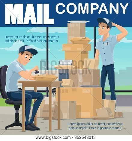 Post Office, Mail Sorting Center, Postman Sorting Boxes And Stamping Envelope Letters. Vector Cartoo