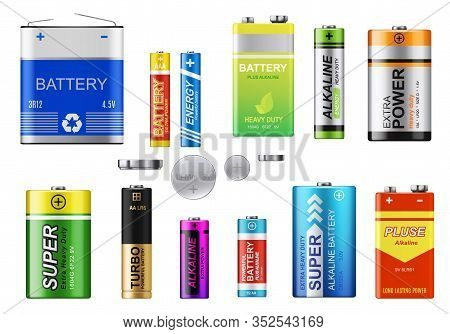Batteries, Accumulators And Button Cells Vector Set. Realistic Primary Batteries Of Different Types.