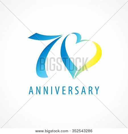 70 Years Old Logotype. 70 Th Anniversary Numbers. Decorative Symbol. Congrats In Elegant Style. Isol