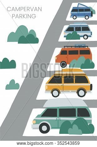 Campervan Parking Illustration With Space For Text. Hand Drawn Flat Vector Concept For Banner, Adver