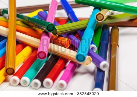 Multicolored Felt-tip Pens Isolated On A White Background