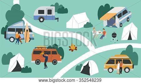 Van Life Concept. Hand Drawn Vector Flat Illustration. Campsite View. People Living In Campervans, T