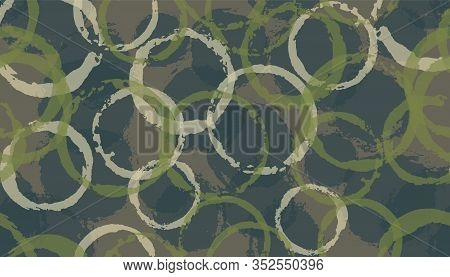 Faded Hand Drawn Circle Stamps Textile Print. Round Shape Splotch Overlapping Elements Vector Seamle