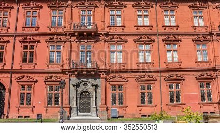 Mainz, Germany - August 04, 2019: Side Wall With Gray Door Of The Palace In Mainz, Germany