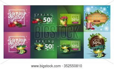 Large Set Of Spring Discounts Banners For Your Business. Spring Discounts Square Banners With Beauti