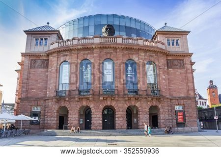 Mainz, Germany - August 04, 2019: Front Of The National Theater At The Markt Square  Of Mainz, Germa