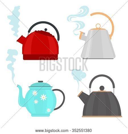 Cartoon Color Different Teapot Or Teakettle Icon Set For Hot Beverage. Vector Illustration Of Kettle