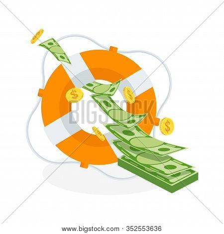 Flow Of Flying Money In Lifebuoy. Dollars In Ring Buoy. Rescue Of Money. Insurance Policy. Contingen