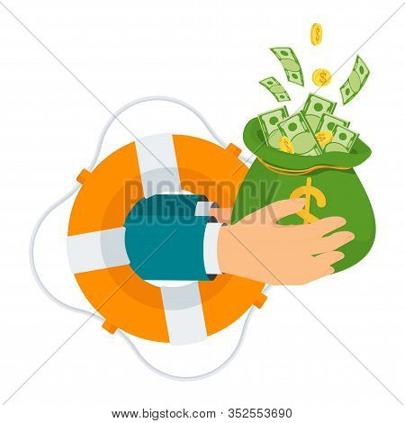 Hand With Bag Of Money Protrudes From Life Buoy. Loan Without Interest And Collateral. Money For Unf