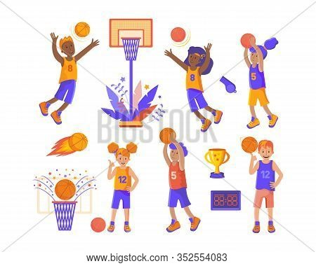 Mens And Womens Basketball Teams. Sports Set On The Theme Of Basketball. Girls And Boys Basketball P
