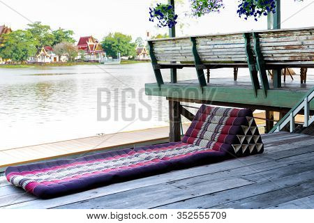 A Pad In Thai Lanna Style In Northern Culture Of Thailand, The Cushion In Front Of Traditional Thai