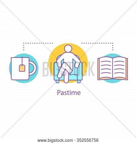 Pastime Concept Icon. Procrastination Idea Thin Line Illustration. Time For Rest. Reading Book With