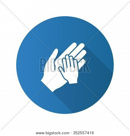 Charity For Children Flat Design Long Shadow Glyph Icon. Parent And Child Hands Together. Child Prot