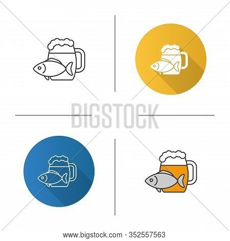 Beer Mug With Salty Fish Icon. Ale. Flat Design, Linear And Color Styles. Isolated Vector Illustrati