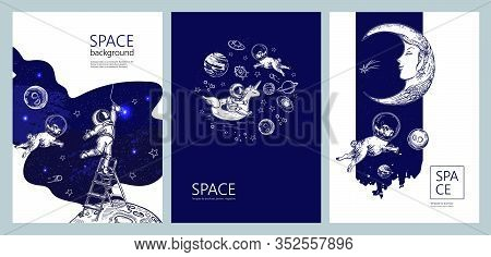 Set Of Space Banners. Astronaut Swim On Swimming Circle Of A Unicorn. Astronaut Is Screwing A Light