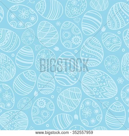 Easter Egg Seamless Blue Pattern. For Clothes, Card, Paper. Duotone Background