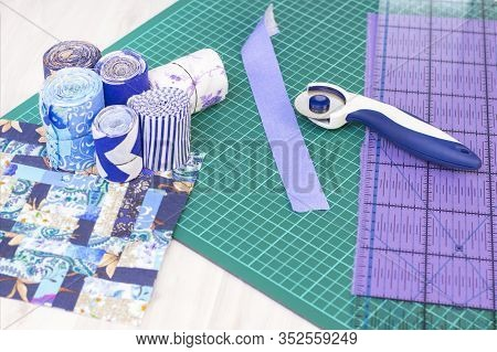 Fragments Of A Quilt, Accessories For Patchwork. Mat Mat For Patchwork, Ruler, Knife