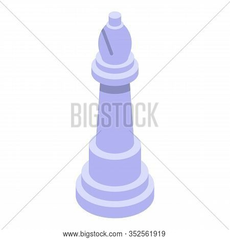 White Chess Bishop Icon. Isometric Of White Chess Bishop Vector Icon For Web Design Isolated On Whit