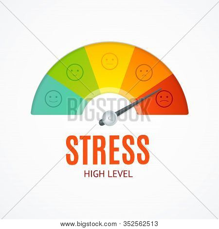 Realistic Detailed 3d Stress Indicator Counter And Thin Line Icons Concept Of Problem And Depression