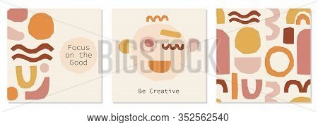 Every Day Motivation As Set Of Creative Trendy Abstract Backgrounds With Collage Of Minimal Organic