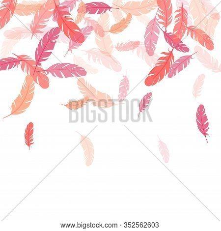 Weightless Pink Flamingo Feathers Vector Background. Plumage Fluff Dreams Symbols. Decorative Confet