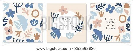 Every Day Motivation As Creative Set Of Trendy Abstract Collage Background With Minimal Organic Shap