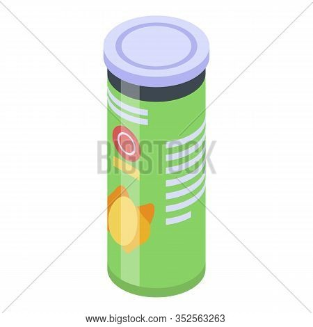 Chips Potato Cylinder Box Icon. Isometric Of Chips Potato Cylinder Box Vector Icon For Web Design Is