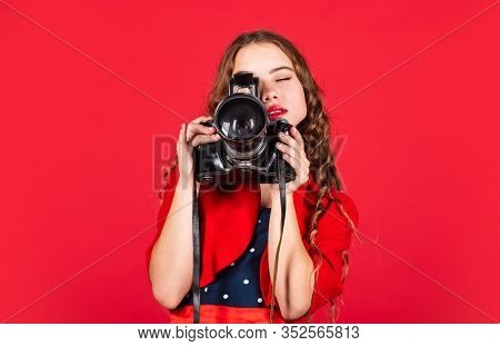 Professional Camera. Girl With Retro Camera. Capture Moments. Slr Camera. Courses For Photographers.