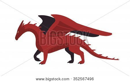 Cartoon Red Mythical Creature Dragon Isolated On White Background. Antique Dangerous Character With