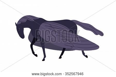 Elegant Cartoon Black Pegasus Vector Flat Illustration. Mythical Horse Character With Wings Isolated
