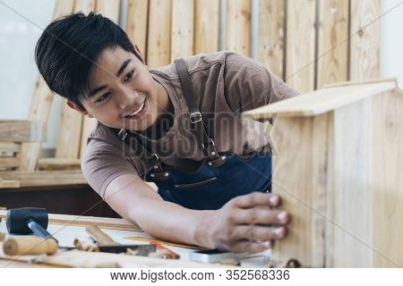 Diy Woodworking And Furniture Making And Craftsmanship And Handwork Concept.