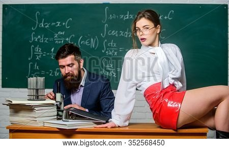 Experimenting With Feelings. Attractive Teacher Latex Skirt. Cheeky Teacher. Impudent Student. Flirt
