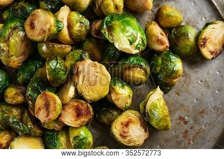 Delicious Roasted Brussels Sprouts In Frying Pan, Closeup