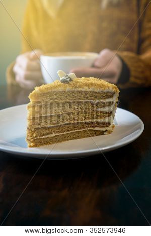 Honey Cake Close Up. Woman In Terracotta Sweater Headless And Hands With Latte On Background. Sunshi