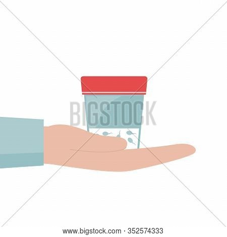 A Mans Hand Holds A Container Of Sperm.jar For Analysis.concept Of Sperm Donation And Infertility Te