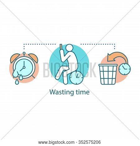 Wasting Time Concept Icon. Laziness. Low Productivity. Procrastination Idea Thin Line Illustration.