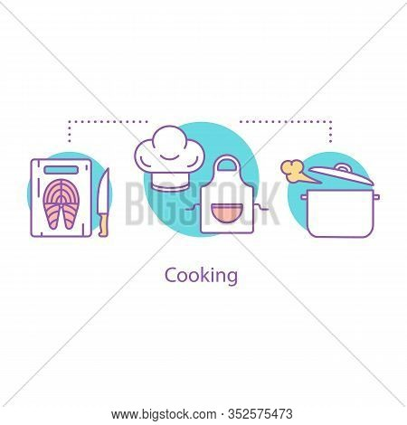 Cooking Dinner Concept Icon. Food Preparation Idea Thin Line Illustration. Meal Time. Culinary. Cutt