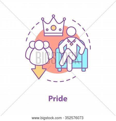 Pride Concept Icon. Arrogance Idea Thin Line Illustration. Self Assurance. Prideful Person. Vector I