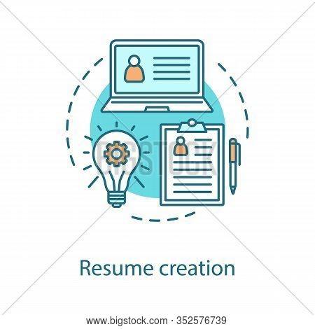Resume Creation Concept Icon. Personal Information Idea Thin Line Illustration. Curriculum Vitae. Ve