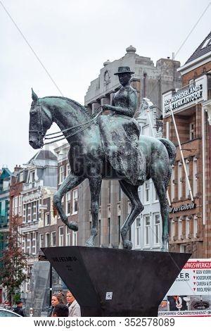 Amsterdam, Netherlands - October 16, 2019: Equestrian Statue Of Queen Wilhelmina