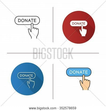 Donate Button Click Icon. Flat Design, Linear And Color Styles. Donation Making. Isolated Vector Ill