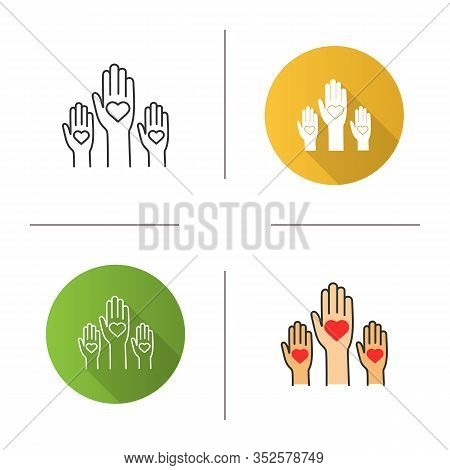 Unity In Diversity Icon. Flat Design, Linear And Color Styles. No To Racism. Volunteers. Helping Han
