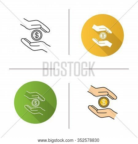 Charity Icon. Flat Design, Linear And Color Styles. Donation. Islamic Zakat. Helping Hands. Alms-giv