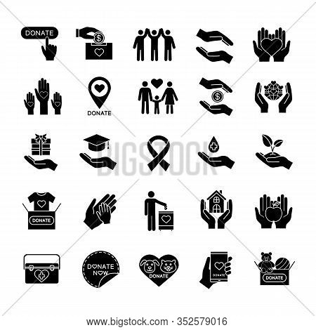 Charity Glyph Icons Set. Silhouette Symbols. Donation. Fundraising, Helping Hands, Volunteering, Hum